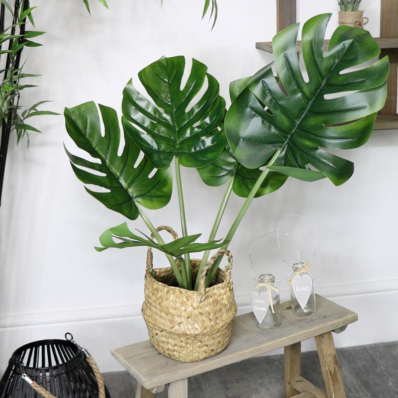 Faux Monstera Houseplant in Rattan Basket