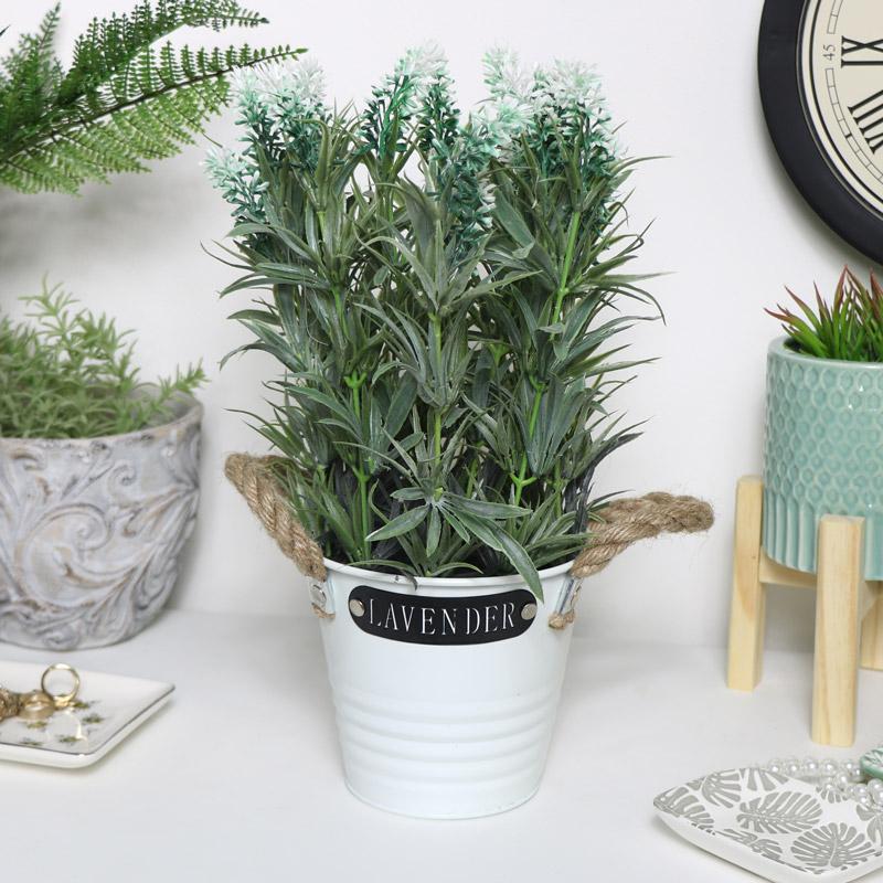 Faux White Lavender in White Pot