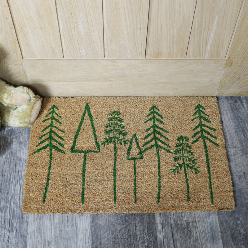 Festive Green Christmas Tree Coir Doormat