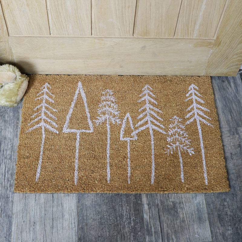 Festive White Christmas Tree Coir Doormat
