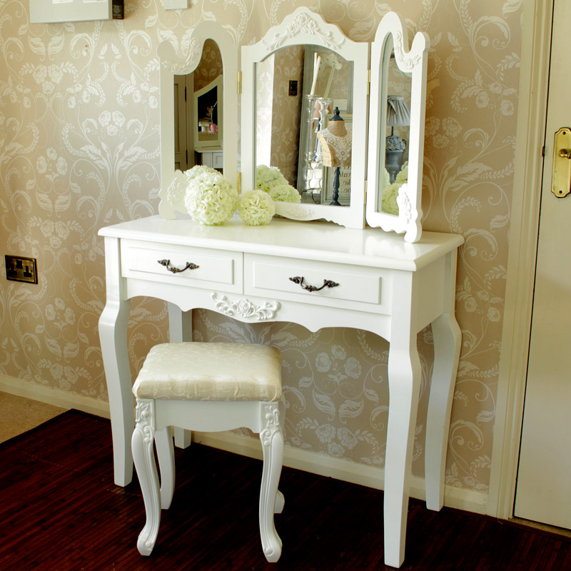 Ivory cream dressing table with triple mirror and stool for 90cm dressing table