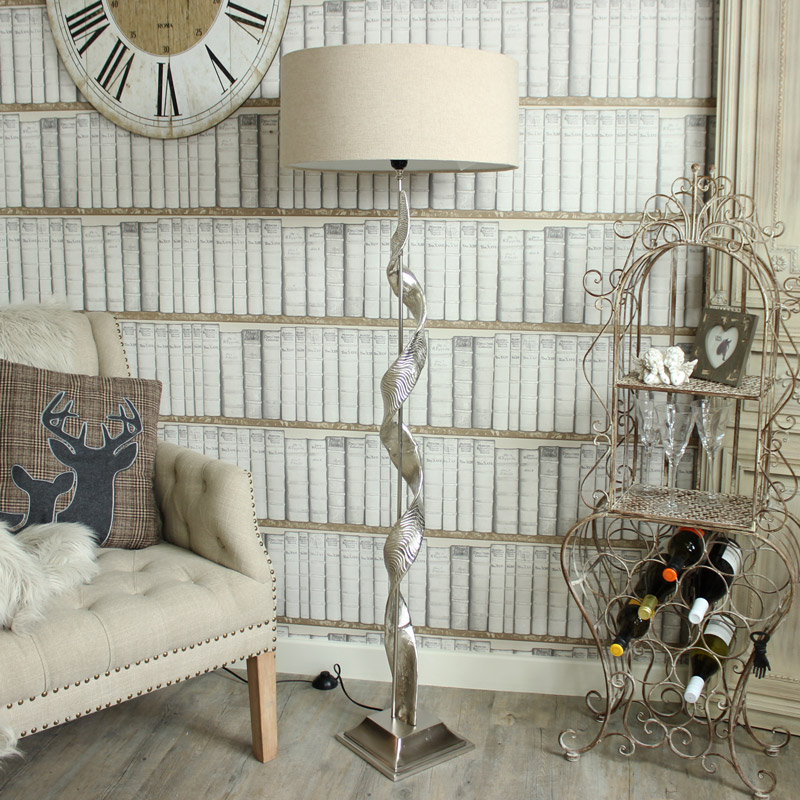 Floor Standing Lamp - Aluminium Twist Sculpture Floor Lamp with Shade