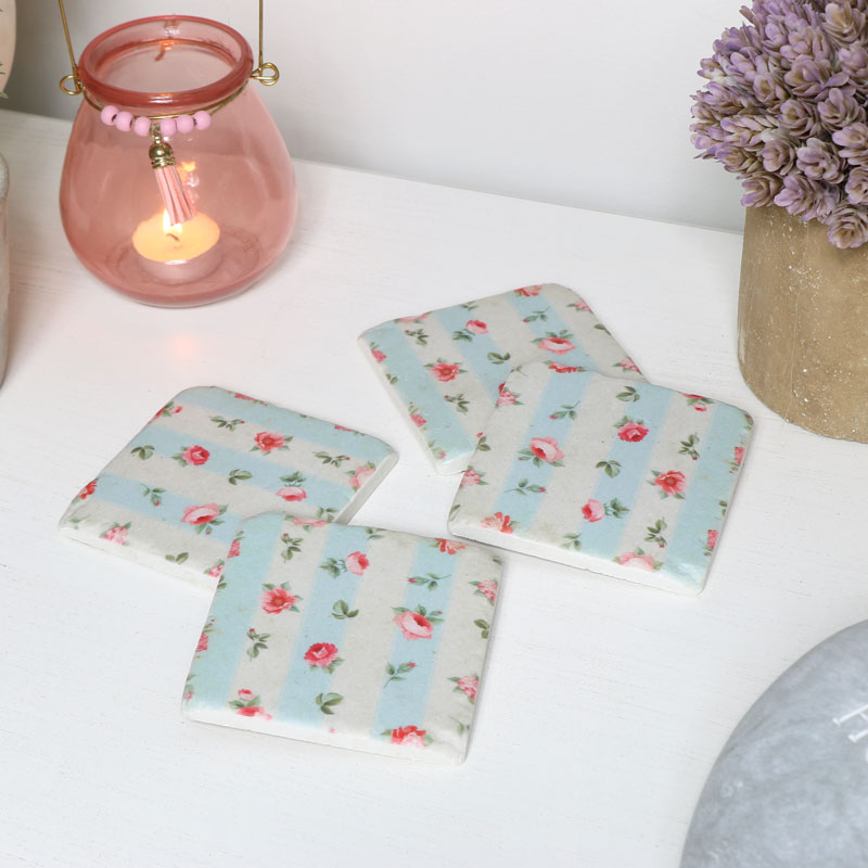 Floral Stripe Ceramic Coasters