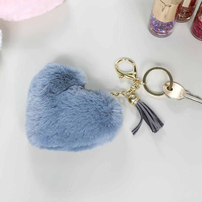 Fluffy Grey Heart Keyring / Bag Charm