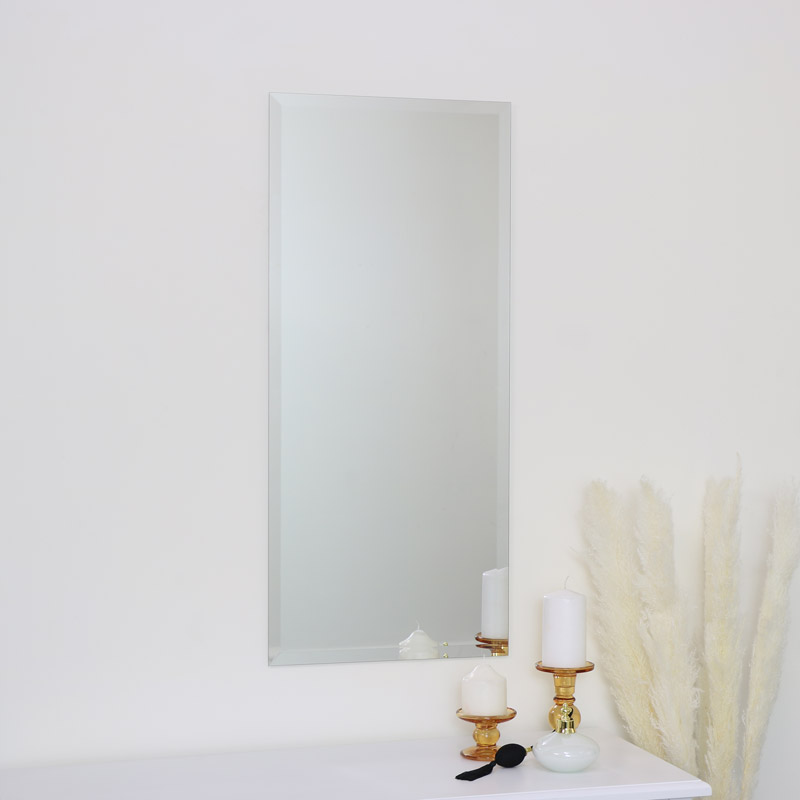 Frameless Rectangle Beveled Wall Mirror 40cm x 90cm