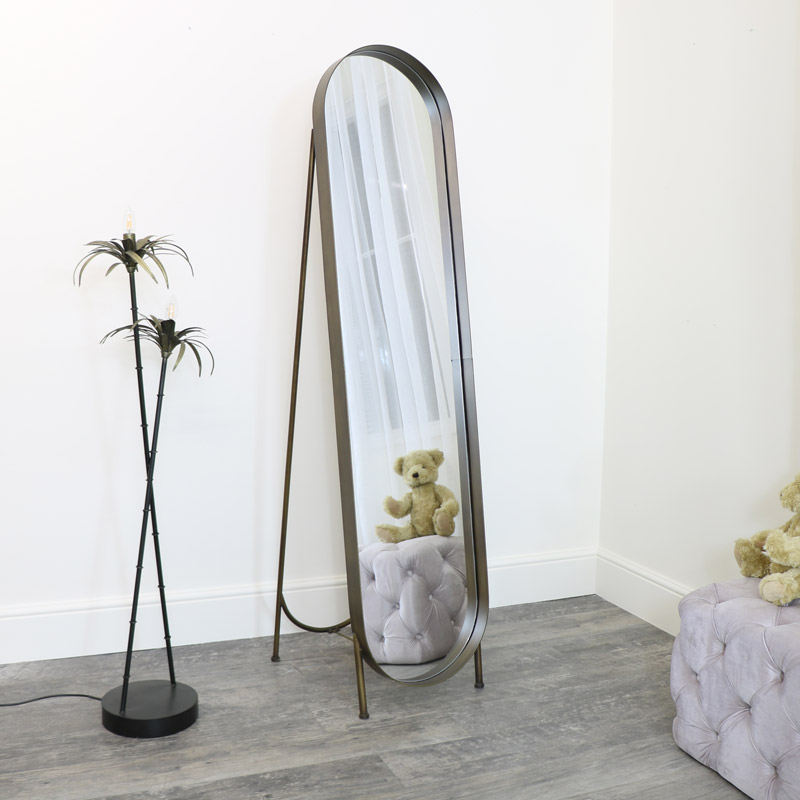 Free Standing Metal Oblong Mirror