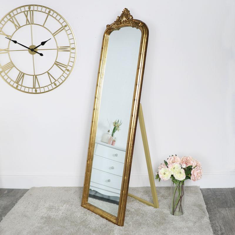 Free Standing Vintage Gold Mirror