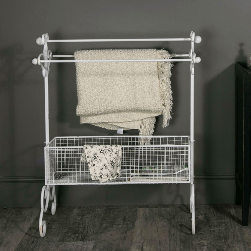 Freestanding Metal Towel Rail with Basket Storage