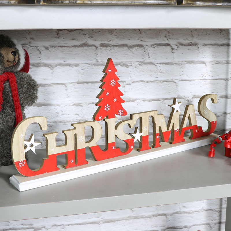 Wooden vintage christmas letters free standing
