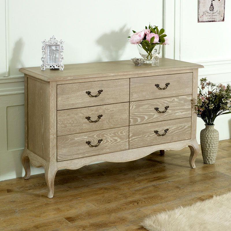 Details about Large natural wood limewash chest of drawer shabby chic  french bedroom furniture