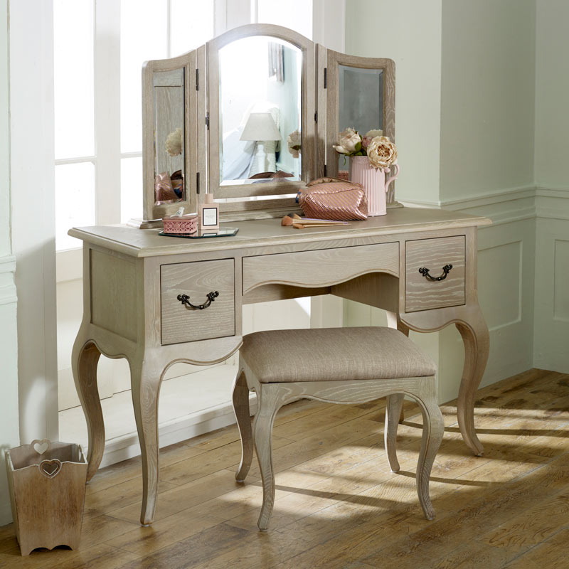 French Style Dressing Table, Mirror & Stool - Brigitte Range