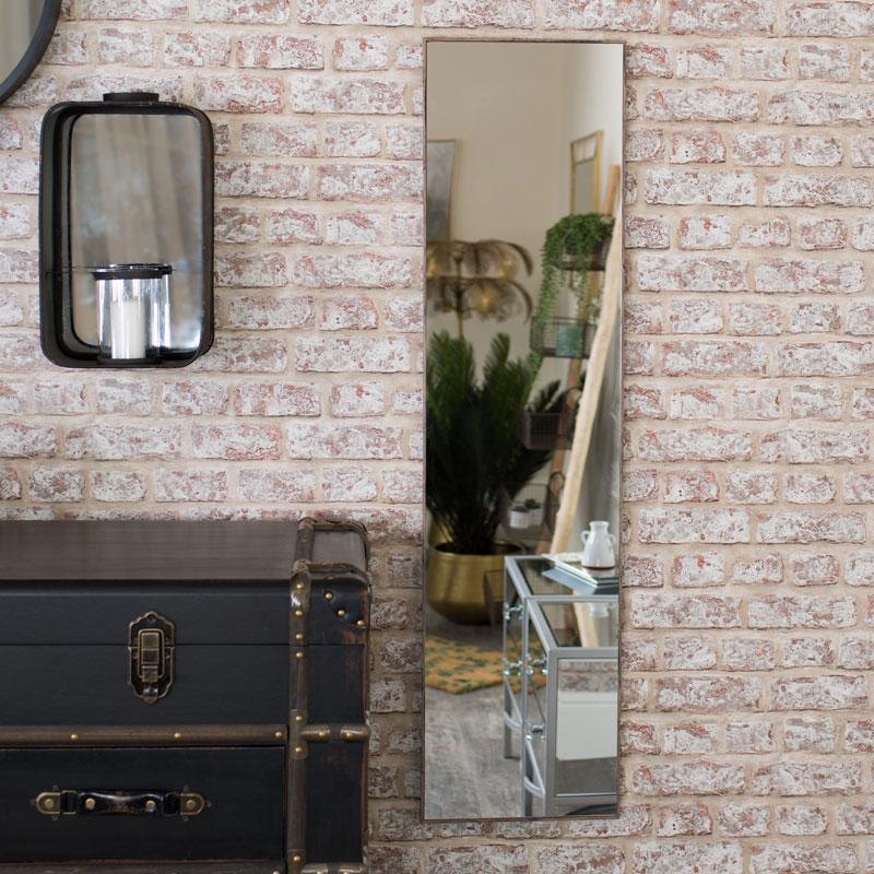 Full Length Wall Mirror with Dark Wood Frame 31cm x 121cm