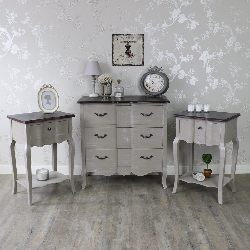 Furniture Bundle, Chest of Drawers and Pair of Bedside Lamp Tables - French Grey Range