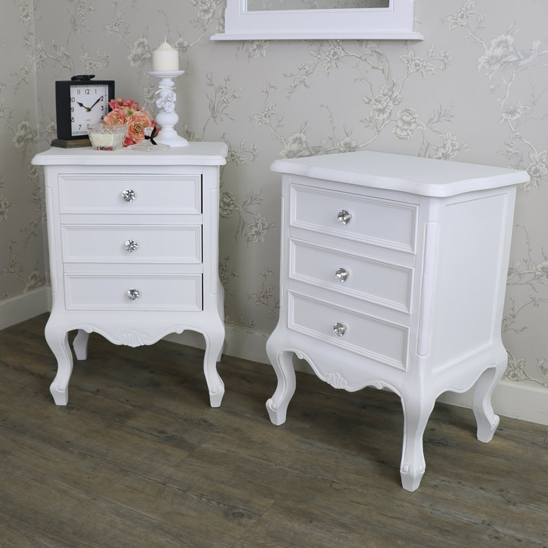 Bedroom Set, Pair of 3 Drawer Bedside Table - Elise White Range