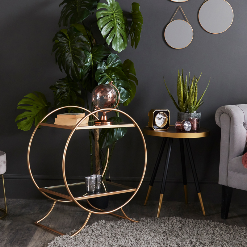 Gold Circle Shelving Unit/Side Table