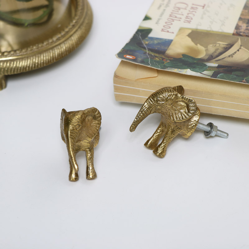 Pair of Gold Elephant Drawer Handles