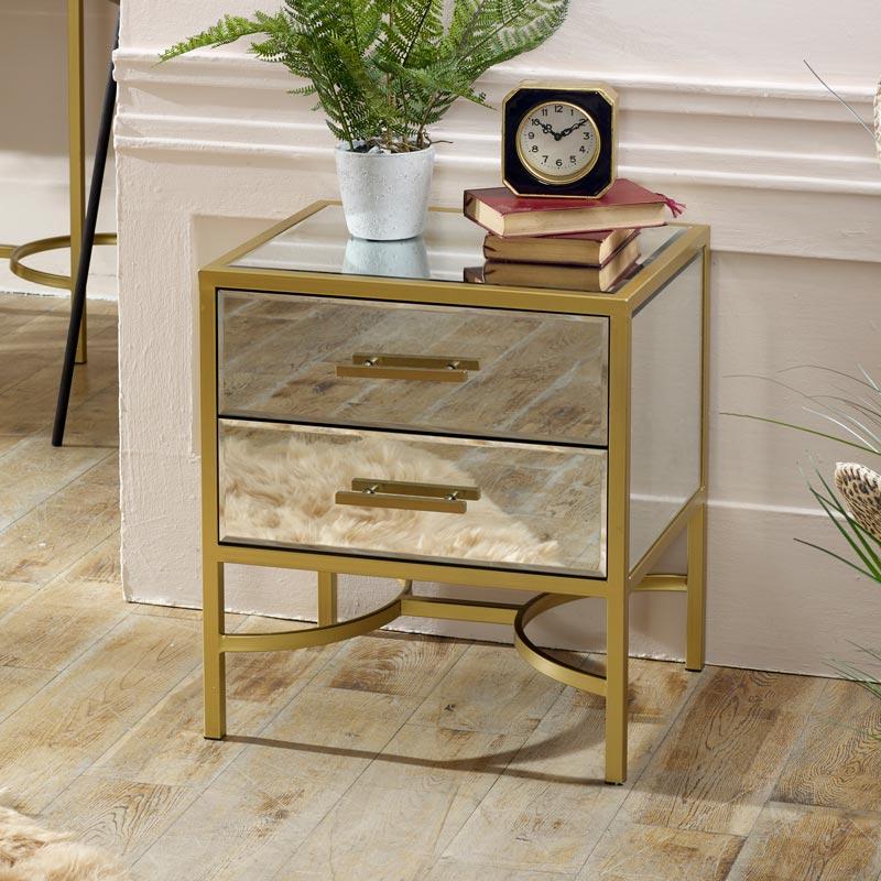 Gold Mirrored Bedside / Occasional Table - Venus Range DAMAGED SECONDS ITEM 21020