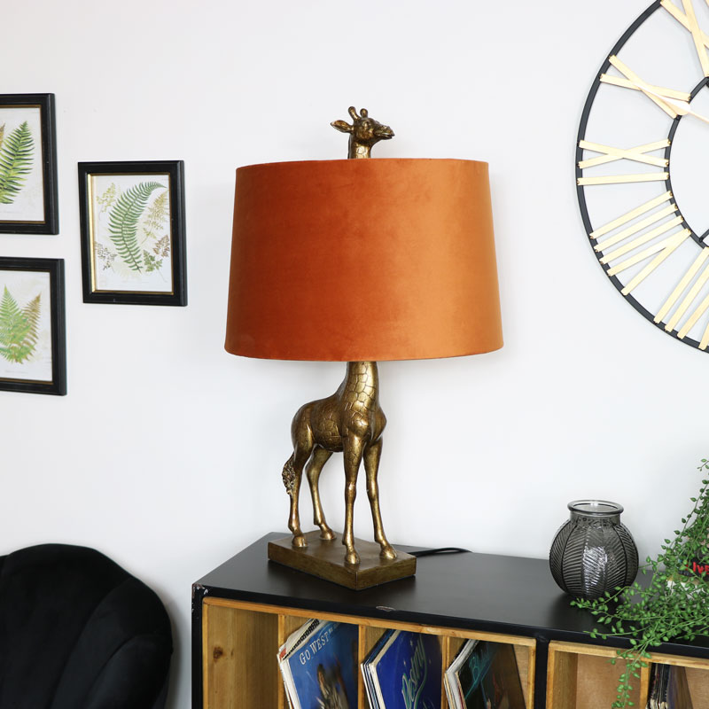 Gold Giraffe Lamp With Orange Velvet Shade