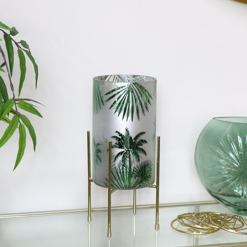Gold & Glass Palm Tree Hurricane Candle Holder