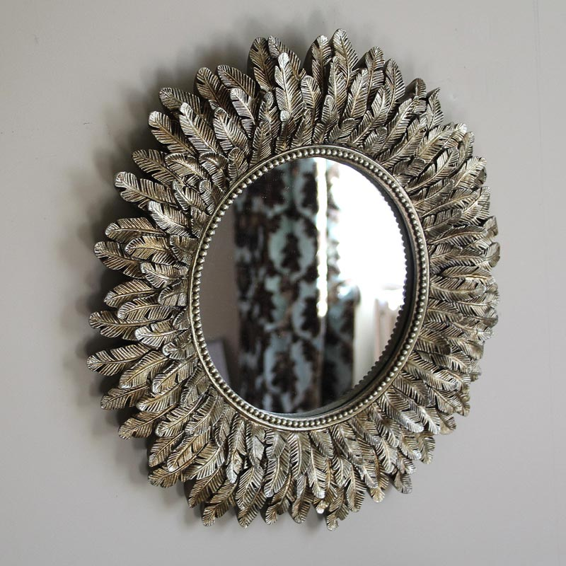 Gold Feather Effect Wall Mirror 40cm x 40cm