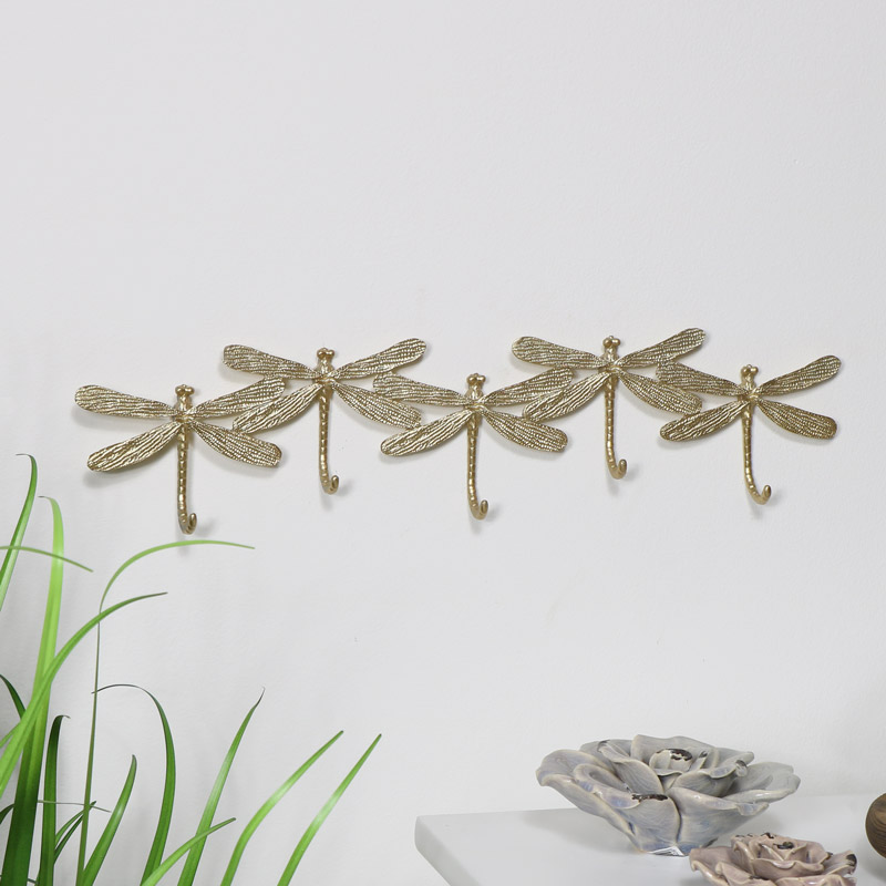 Gold Metal Dragonfly Coat Hooks