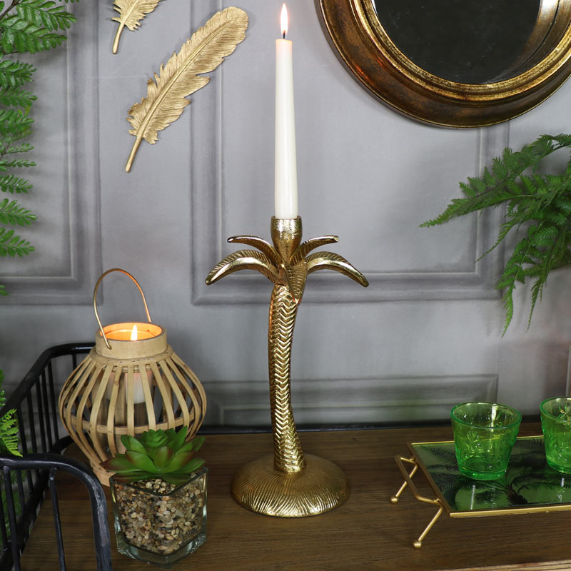 Gold Metal Palm Tree Candle Holder