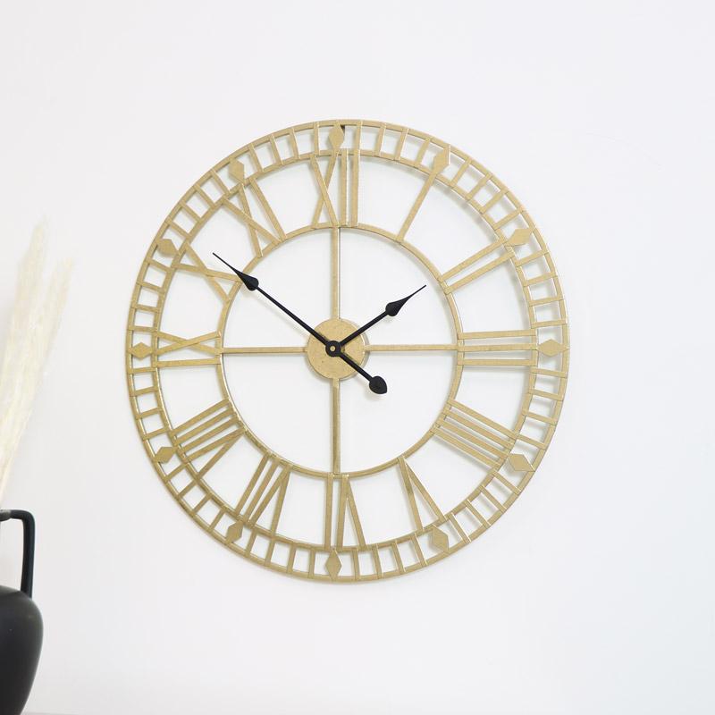 Gold Metal Skeleton Clock 60cm x 60cm