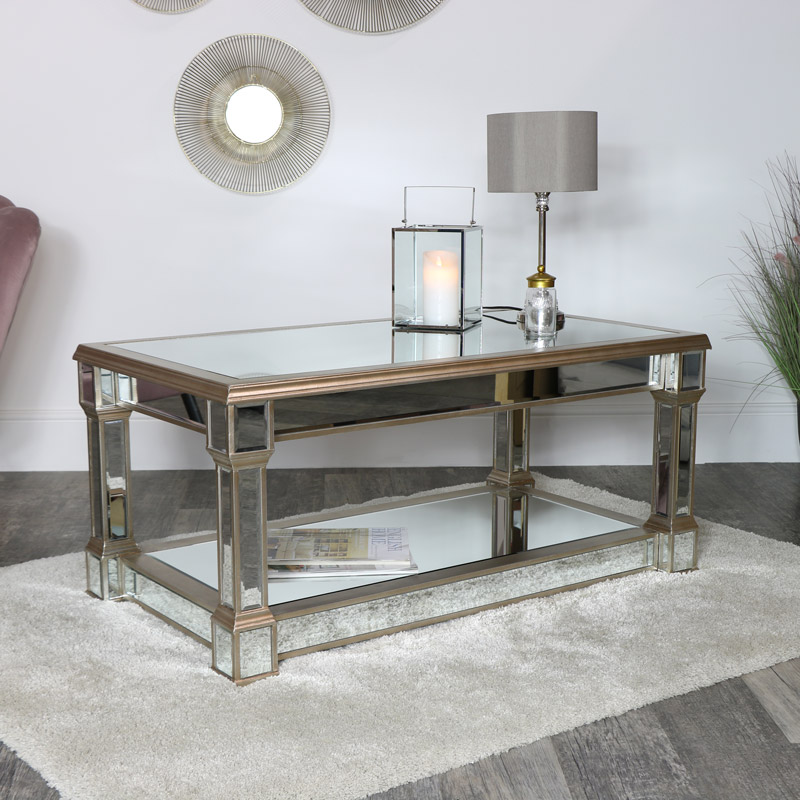 Gold Mirrored Coffee Table - Deco Range DAMAGED SECOND 3473