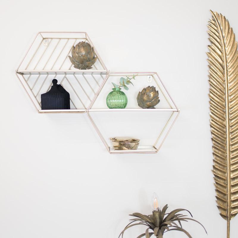 Gold Mirrored Hexagon Double Shelf