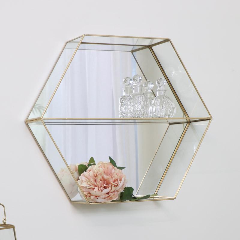 Gold Mirrored Hexagon Shelf