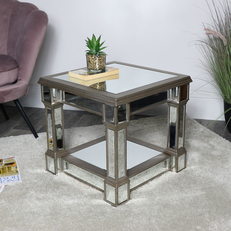Details about Gold mirrored side table vintge retro art deco bevelled  living room furniture
