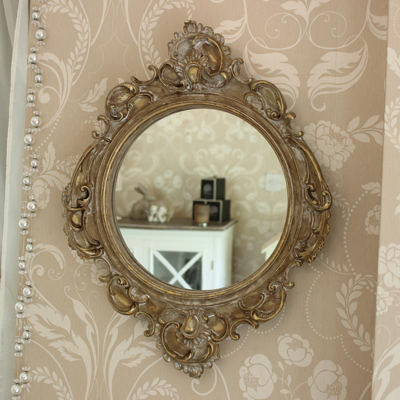 Gold ornate french style wall mirror melody maison for Mirror frame styles