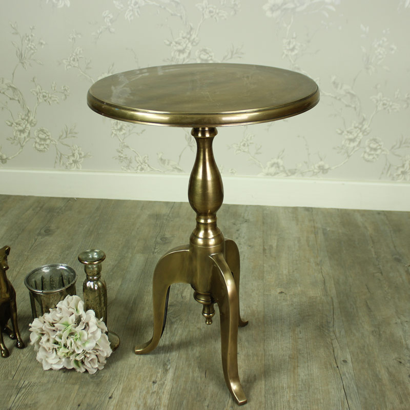 Round brass gold metal occasional side table french for Round gold side table