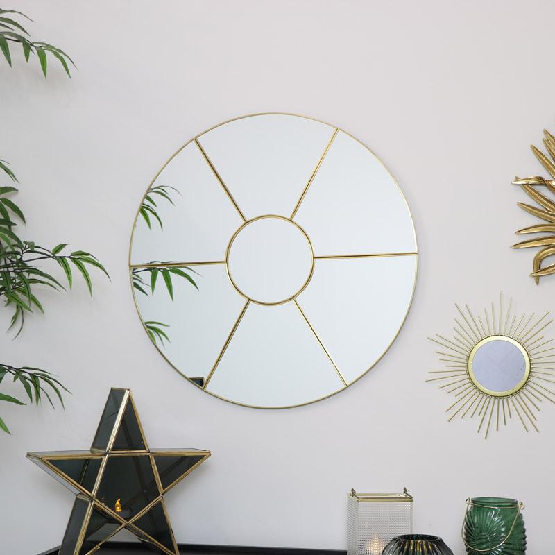 Gold Round Window Mirror 50cm x 50cm