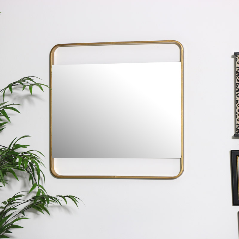 Gold Square Wall Mirror 51cm x 51cm