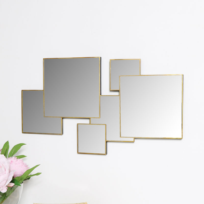 Gold Square Wall Mirror Decorative Modern Art Deco Contemporary Wall Art Decor Ebay