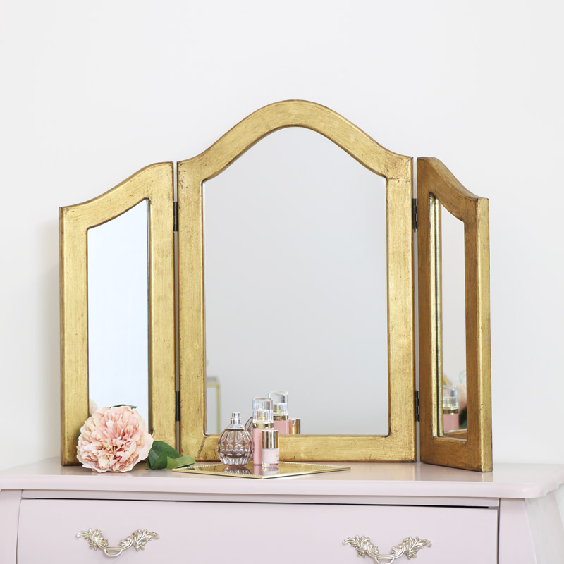 Gold Triple Dressing Table Mirror 79cm x 60cm