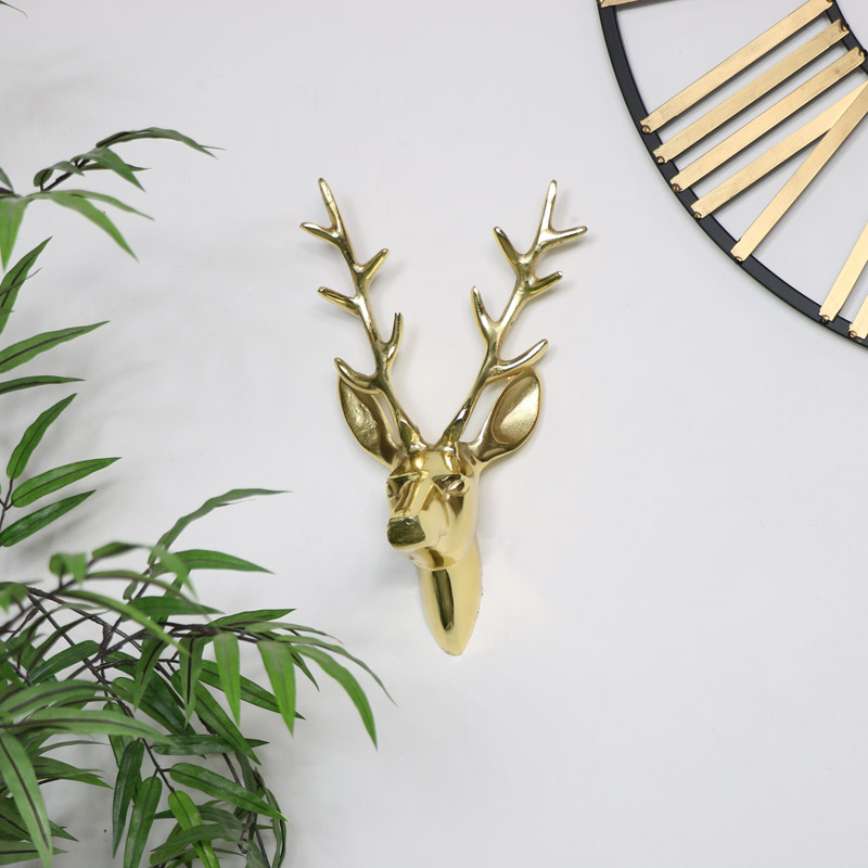 Gold Wall Mounted Stag Head