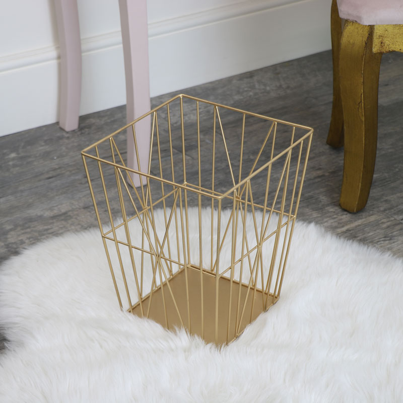Gold Wire Storage Basket Bin
