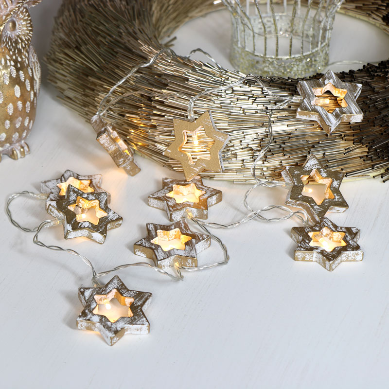 Gold Wooden Star LED Fairy Lights