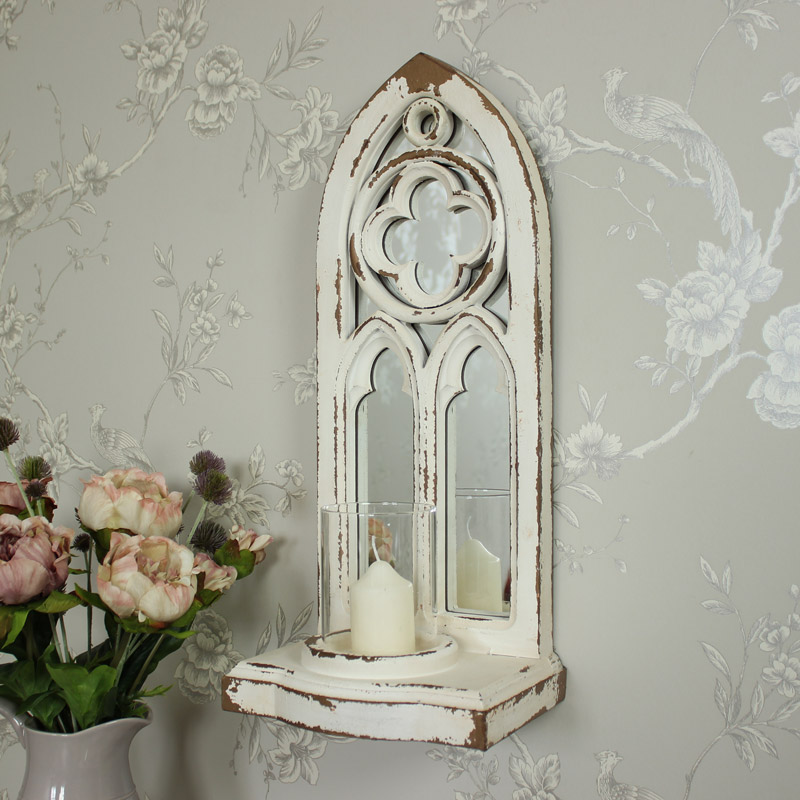 Gothic Style Arched Mirror Wall Mounted Candle Sconce