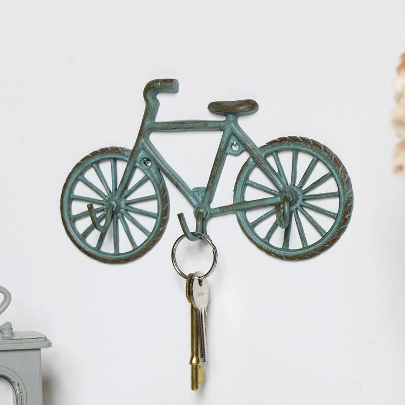 Green Bicycle Wall Key Hooks