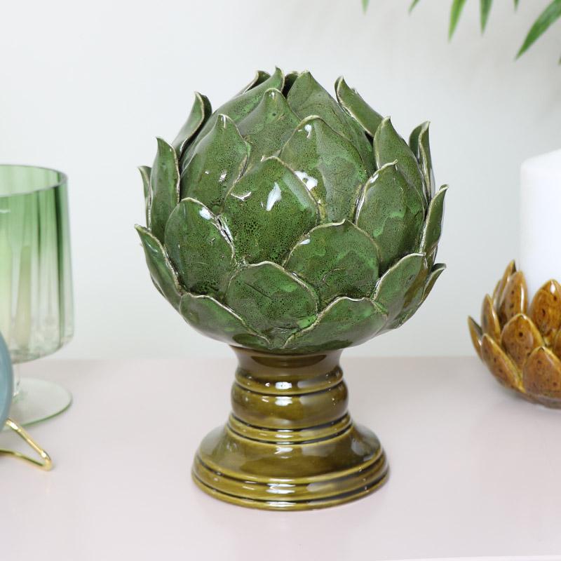 Green Ceramic Artichoke Ornament
