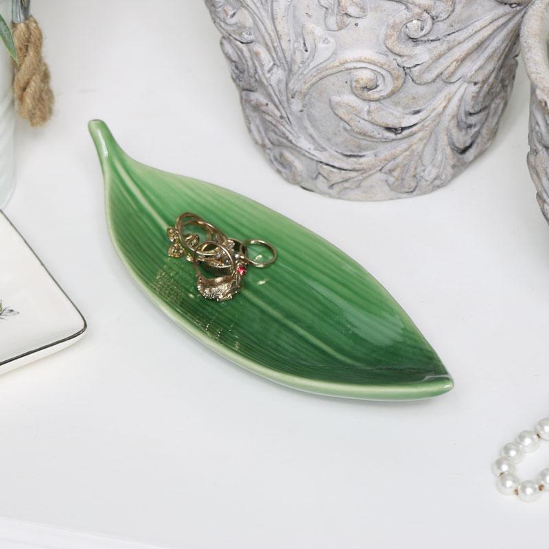 Green Ceramic Lily Leaf Dish