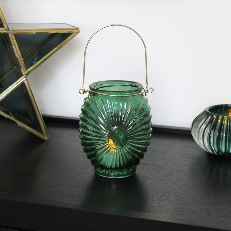 Green Glass Deco Candle Lantern