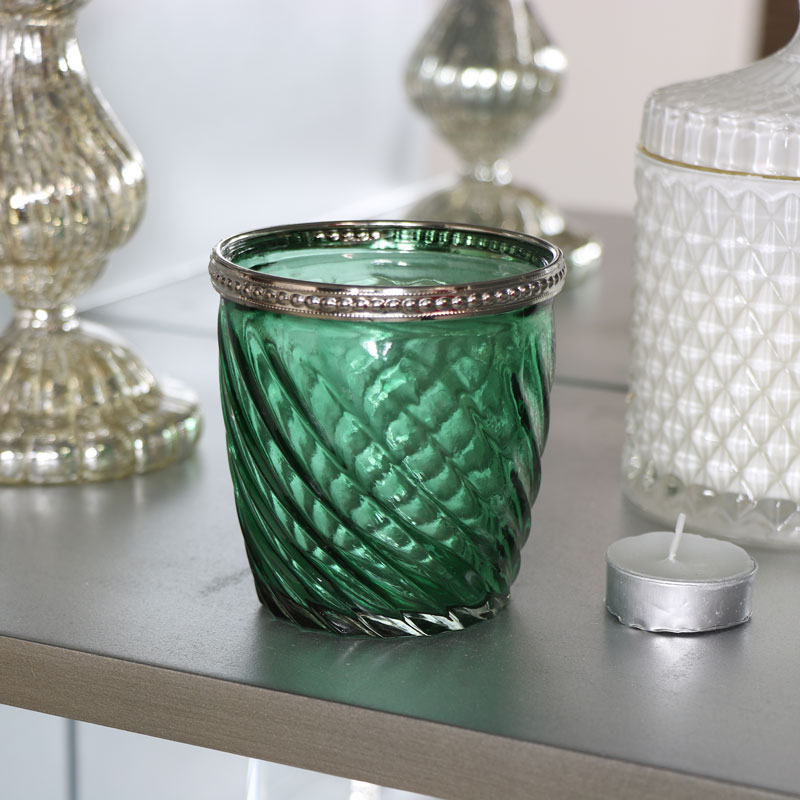 Green Glass Swirl Candle Holder