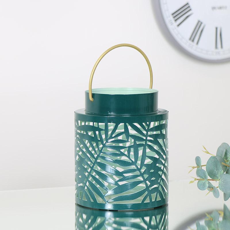 Green & Gold Leaf Candle Lantern