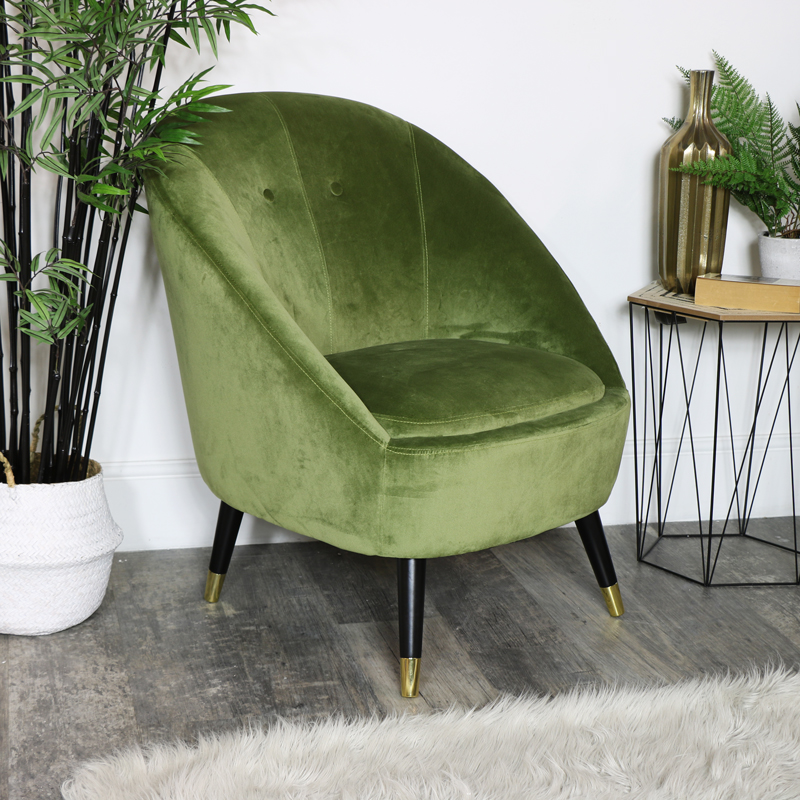Green Velvet Occasional Tub Chair