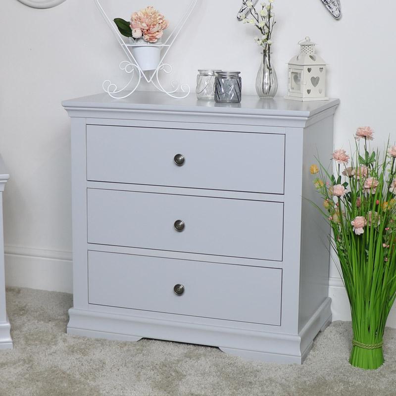 Grey 3 Drawer Bedside Chest of Drawers - Newbury Grey Range