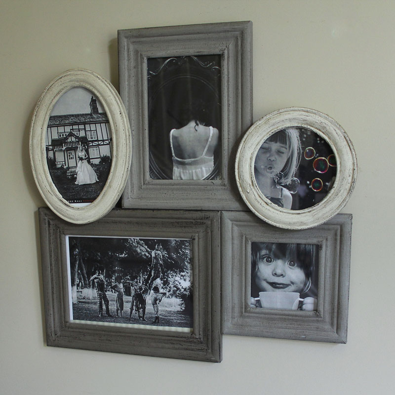 Grey and Cream Wooden Multi Photograph Frame